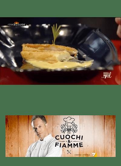 Triglia arrosto con finocchi pastellati  e salsa di senape